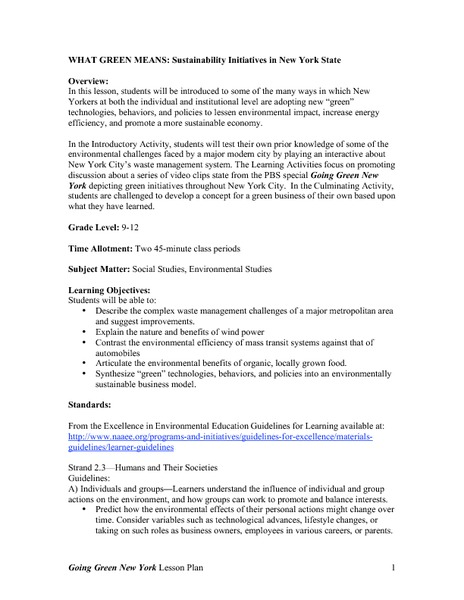 Sustainability Initiatives In New York State Lesson Plan For