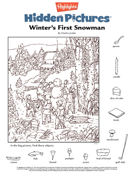 Winter's First Snowman Worksheet
