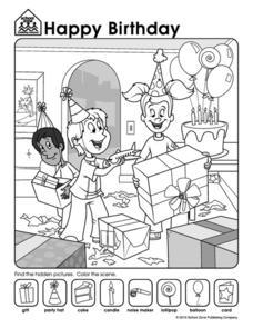 Happy Birthday Hidden Pictures Worksheet For Kindergarten 2nd