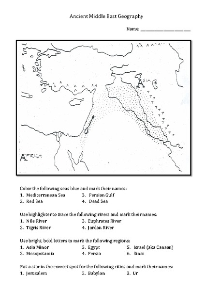 Ancient Middle East Geography Worksheet