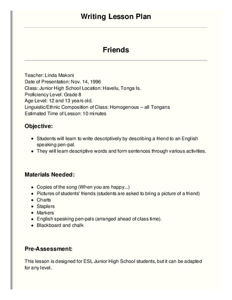 Friends Lesson Plan