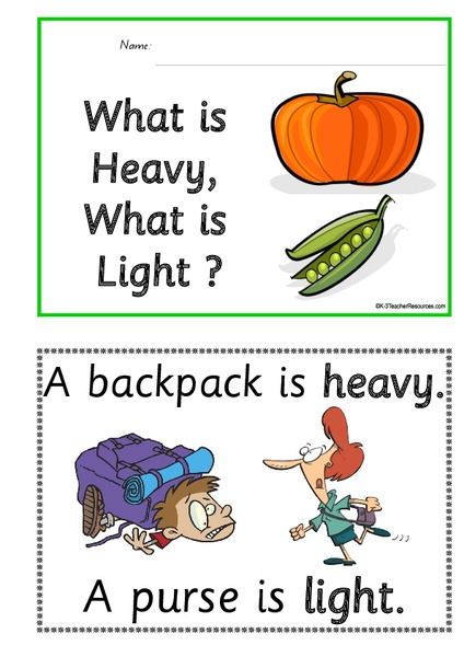 What Is Heavy, What Is Light ? Printables & Template