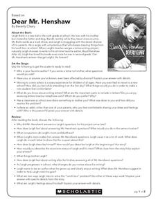 Worksheets Dear Mr Henshaw Worksheets beverly cleary lesson plans worksheets reviewed by teachers dear mr henshaw concepts writing