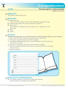 Simple Summary Concepts: summary, summarizing, main ideas, Printables & Template