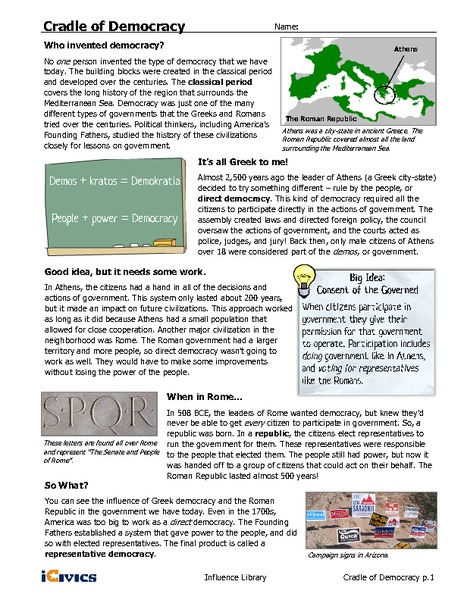 Cradle of Democracy Handouts & Reference for 6th - 12th ...