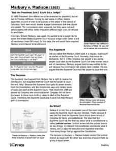 Marbury v. Madison (1803) Handouts & Reference