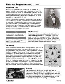 Plessy v. Ferguson (1896) 6th - 12th Grade Worksheet | Lesson Planet