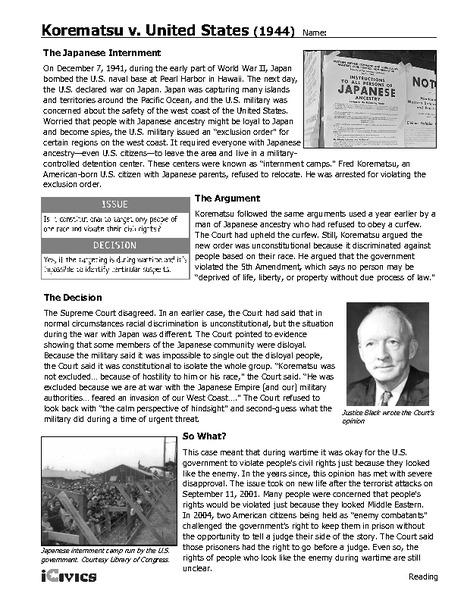 Korematsu v. United States 1944 Handouts & Reference for ...