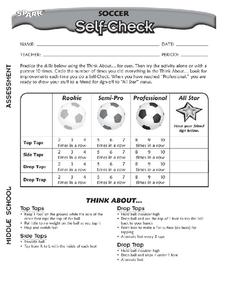 Soccer Self-Check Worksheet