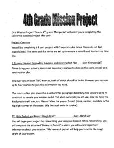 4th Grade Mission Project Activities & Project