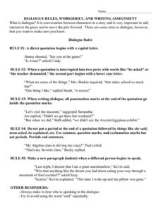 Dialogue Rules, Worksheet, and Writing Assignment Worksheet