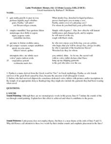 Latin Worksheet: Horace, Ode 1.5 Worksheet