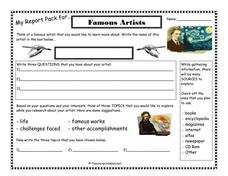 My Report Pack for... Famous Artists Printables & Template