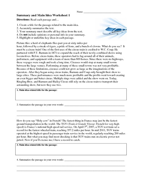 Summary And Main Idea Worksheet 1 Worksheet For 4th 8th