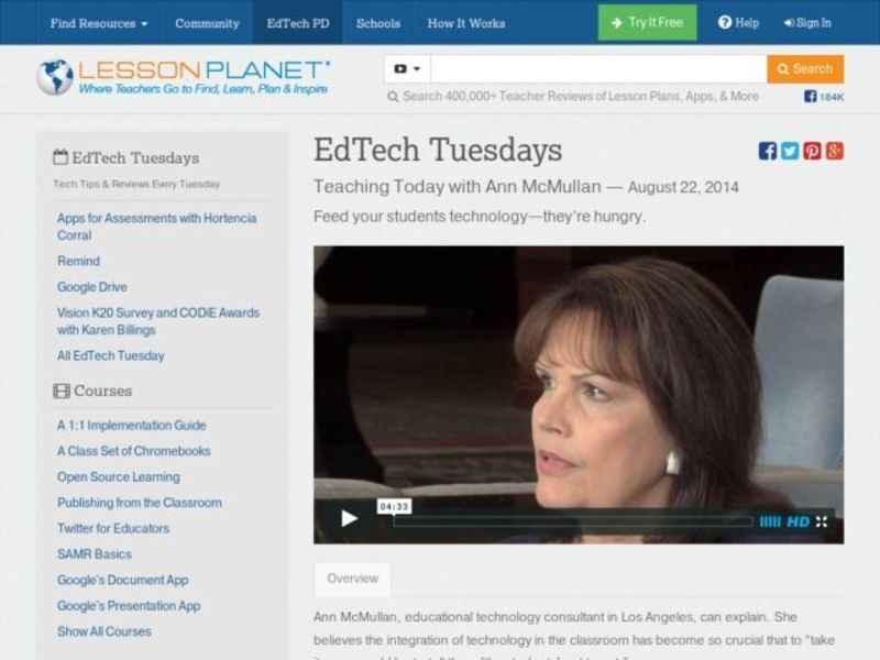 EdTech Tuesdays: Teaching Today with Ann McMullan Video