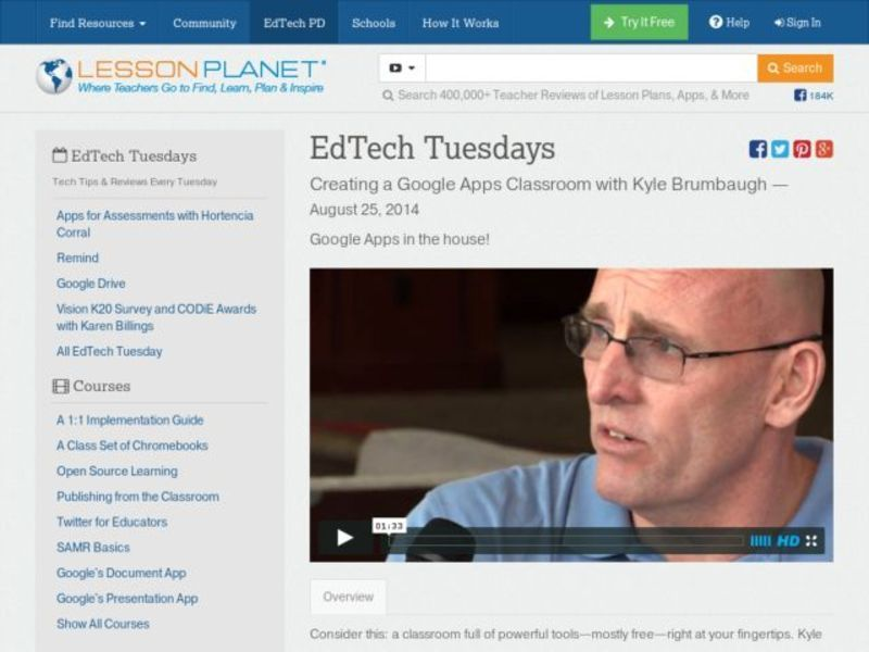 EdTech Tuesdays: Creating a Google Apps Classroom with Kyle Brumbaugh Video