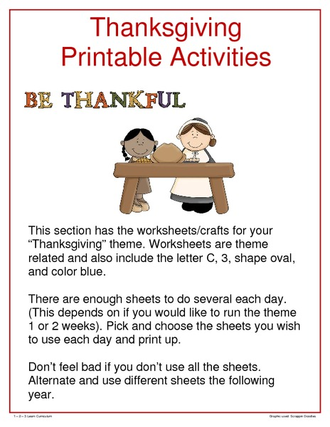 Thanksgiving Printable Activities Printables & Template