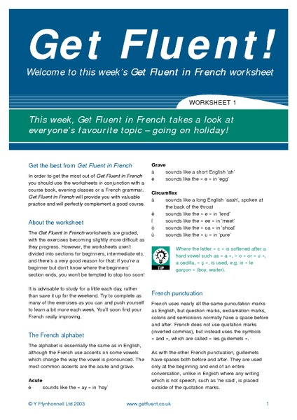 get fluent in french  going on holiday worksheet for 6th