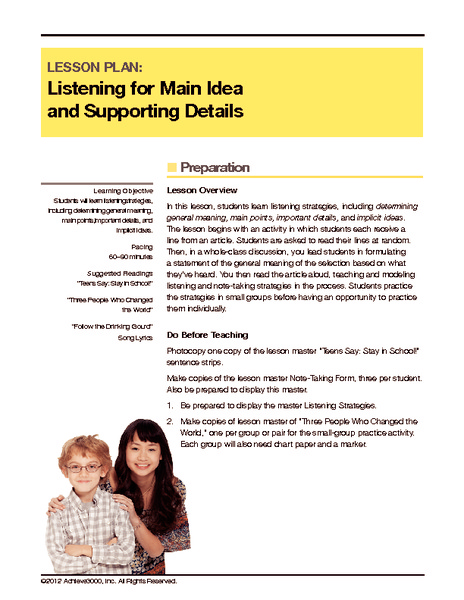 Listening for Main Idea and Supporting Details Handouts & Reference