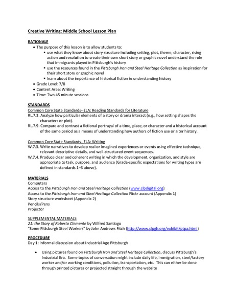 creative writing middle school lesson plans Browse the entire collection of middle school lesson plans gdc and lcm   concepts taught: journalism, creative writing, writing headlines, editorial tasks.