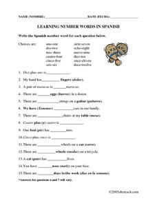 Learning Number Words in Spanish Worksheet