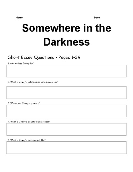 somewhere in the darkness short essay questions worksheet for 5th
