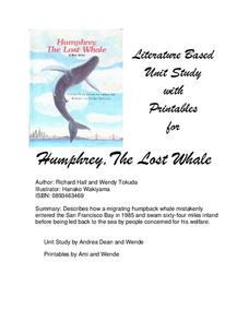 Literature Based Unit Study with Printables for Humphrey, The Lost Whale Lesson Plan