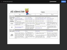 All About Me Packet Activities & Project