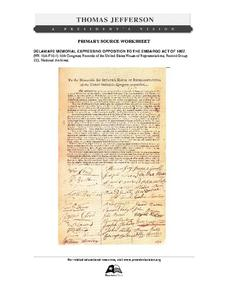 Primary Source Worksheet: Delaware Memorial Expressing Opposition to the Embargo Act of 1807 Worksheet