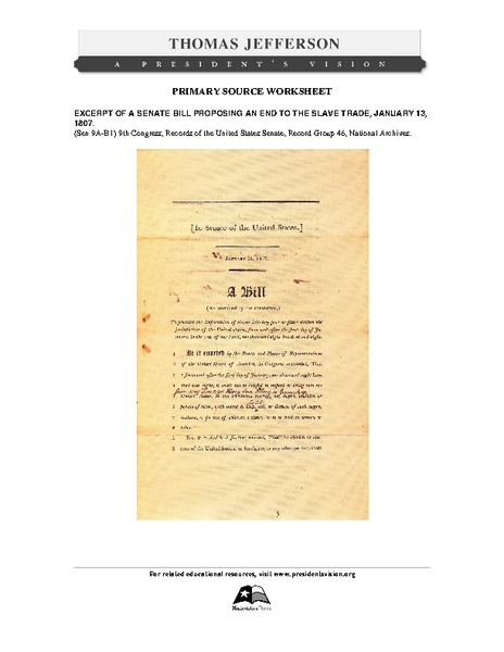 Primary Source Worksheet: Excerpt of Senate Bill Proposing an End to the Slave Trade Worksheet