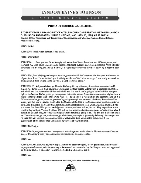 Primary Source Worksheet: Lyndon B. Johnson and Martin Luther King Jr., Excerpt of Telephone Conversation Worksheet