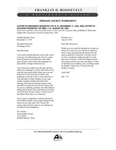 Primary Source Worksheet: Citizen Letters to President and Mrs. Roosevelt Concerning the Depression Worksheet