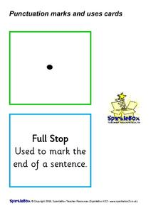 Punctuation Marks and Uses Cards Printables & Template