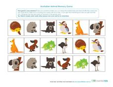 Australian Animal Memory Game Learning Game