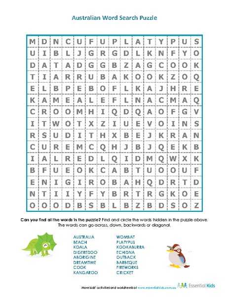 Australian Word Search Puzzle Worksheet