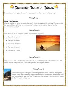 Summer Journal Ideas Handouts & Reference