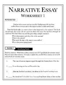 Narrative Essay Worksheets Writing Prompt