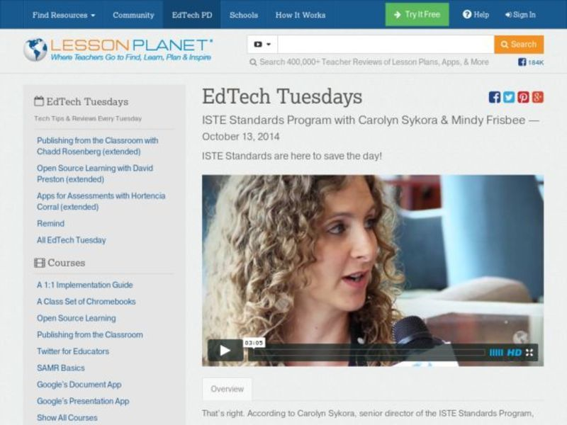 EdTech Tuesdays: ISTE Standards Program with Carolyn Sykora & Mindy Frisbee Video