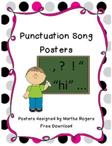 Punctuation Song Posters Printables & Template