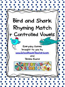 Bird and Shark Rhyming Match: r Controlled Vowels Activities & Project
