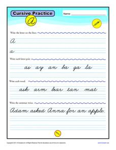 Cursive Practice Worksheet