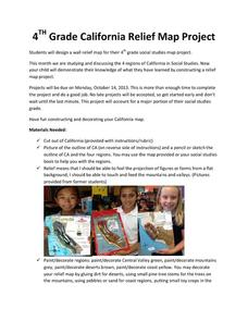 4th Grade California Relief Map Project Activities & Project