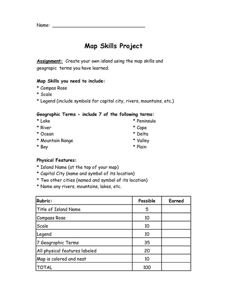 Map Skills Project Activities & Project
