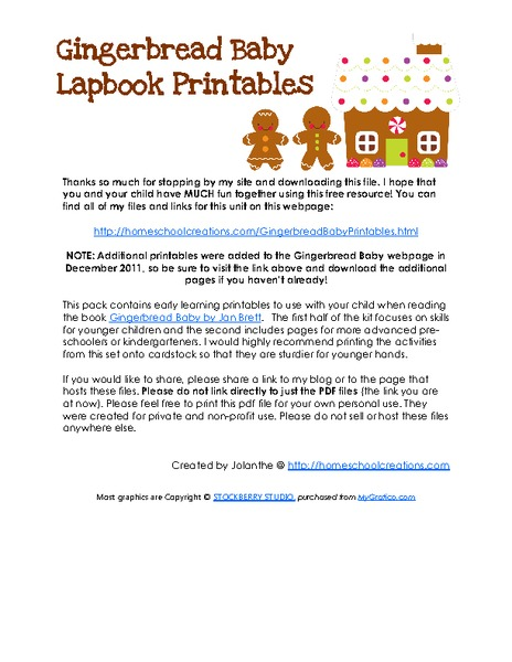 Gingerbread Baby and Lapbook Printables Printables & Template