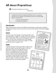 all about prepositions lesson plan for 2nd 5th grade