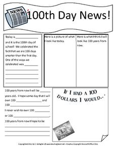 100th Day News! Worksheet