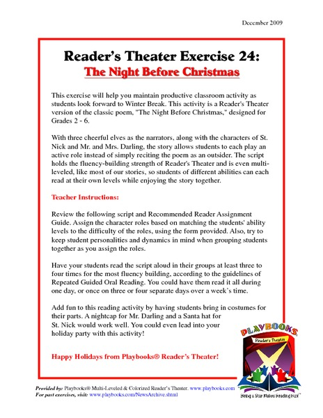 Reader's Theater Exercise: The Night Before Christmas Activities & Project