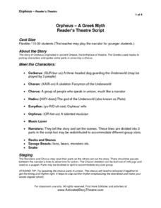 Orpheus- A Greek Myth: Reader's Theatre Script Activities & Project