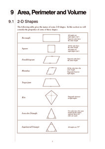 Area, Perimeter and Volume Worksheet