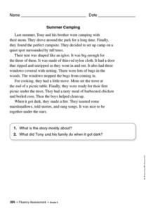 Fluency Passages, 4th Grade Worksheet